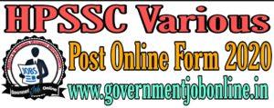 HPSSC Various Post Online Form 2020 | Government Job