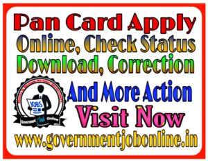 Pan Card, Online Correction, Status Different Recruitment