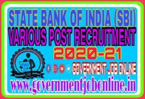 SBI Various Post Online Form 2020-2021