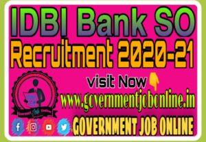 IDBI Bank SO Online Form 2020