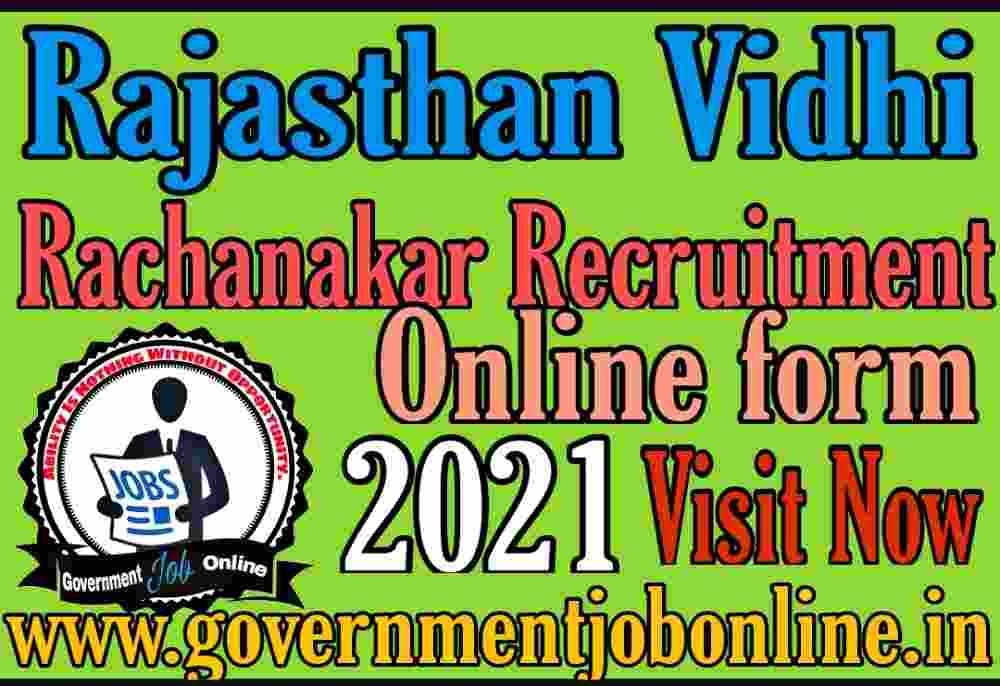 Rajasthan RPSC Vidhirachnakar 2021 Online Form