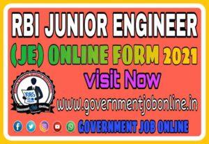 RBI Junior Engineer JE Online Form 2021, RBI Junior Engineer JE Recruitment 2021