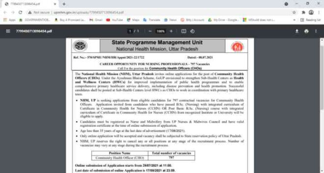 NHM UP CHO 2021 Online Form