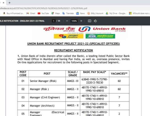 Union Bank Specialist Officer Online Form 2021
