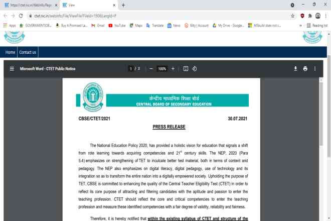 CBSE CTET December Online Form 2021