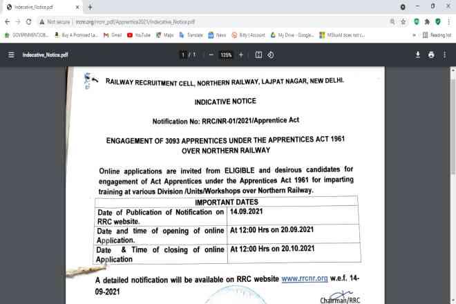 Railway NR Apprentice Online Form 2021