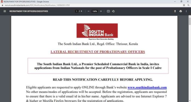 South Indian Bank SIB PO Online Form 2021 Apply Now Fast